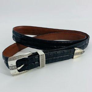Tom James Southwestern Crocodile Torino Black Belt